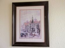 LARGE VINTAGE FRAMED GLAZED PRINT FROM OLD PAINTING LOUISE RAYNER POULTRY CROSS